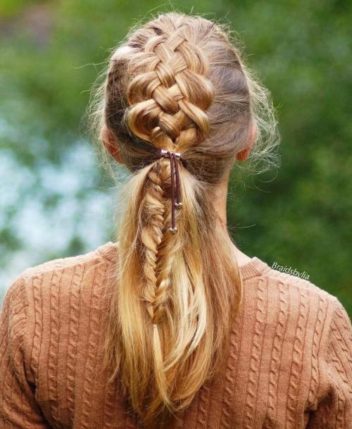 5 strand braid into low ponytail