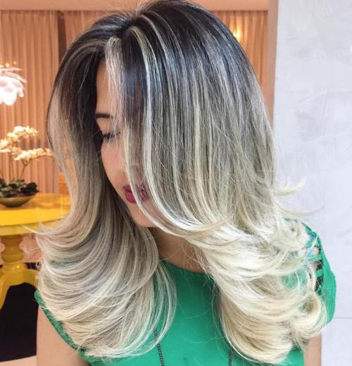 BLACK HAIR WITH ASH BLONDE OMBRE