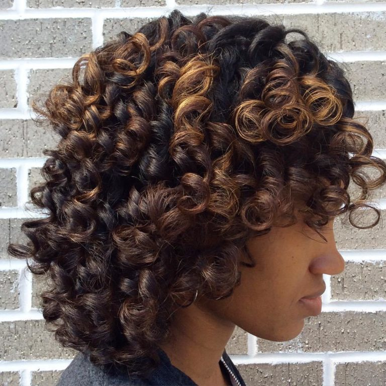 BLACK HAIRSTYLE WITH BROWN HIGHLIGHTS