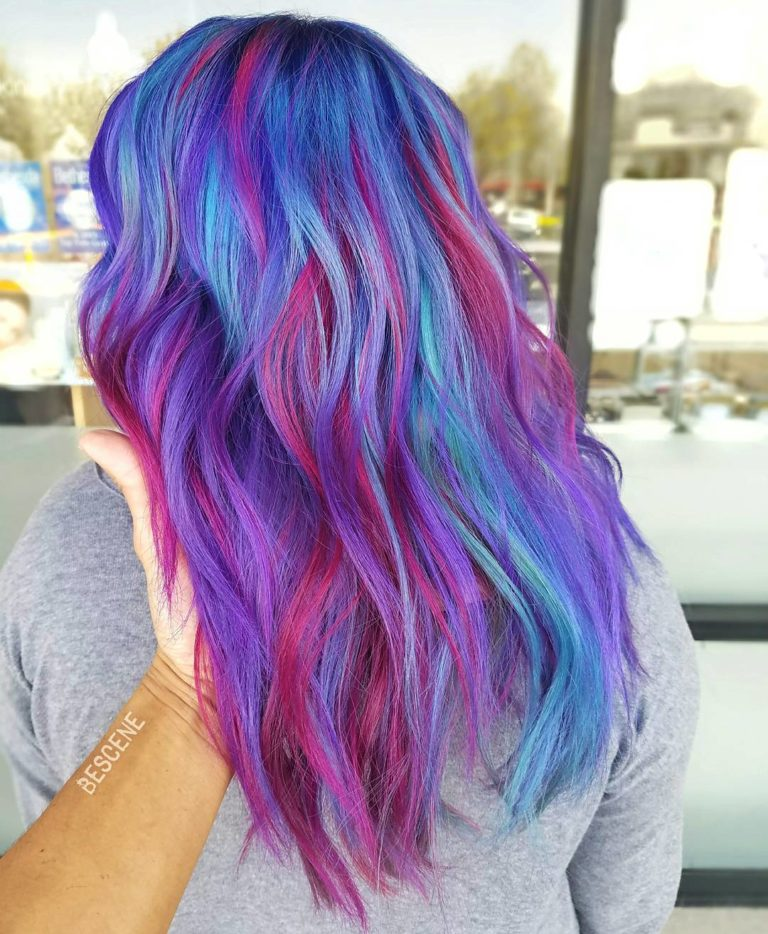 BLUE MAGENTA AND TEAL HAIR COLOR