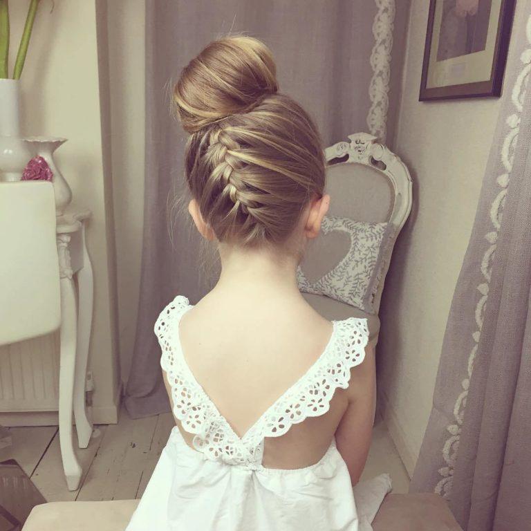 Ballerina bun with a braid for girls