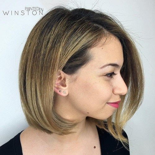 Bob hairstyle for a chubby face
