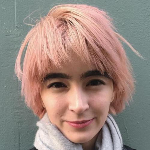 CHOPPY LIGHT PINK BOB WITH BANGS