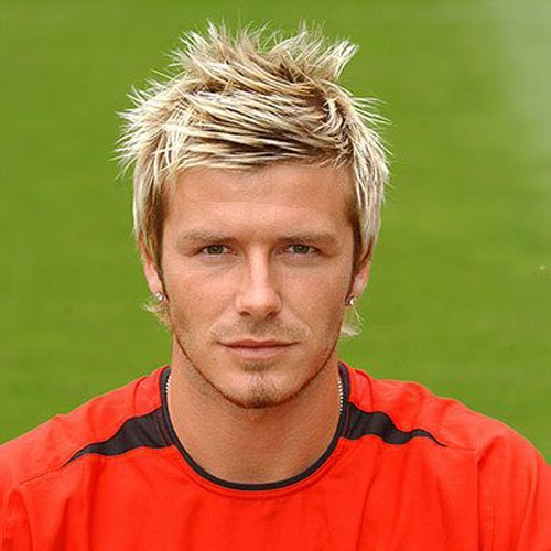 David Beckham Messy Spiked Hair With Highlights
