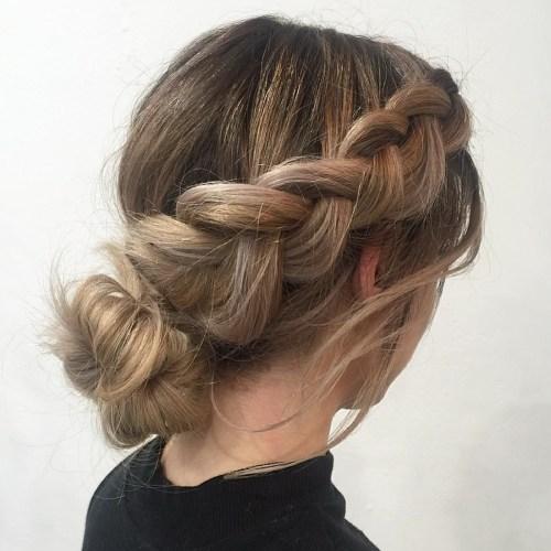 Dutch braid into low bun