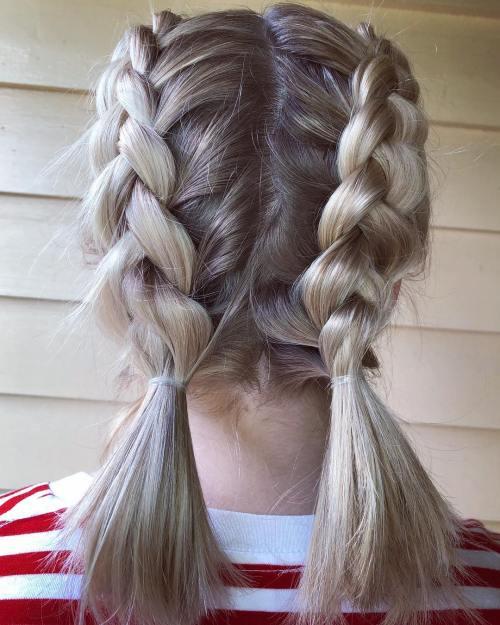 Dutch braided ponytails