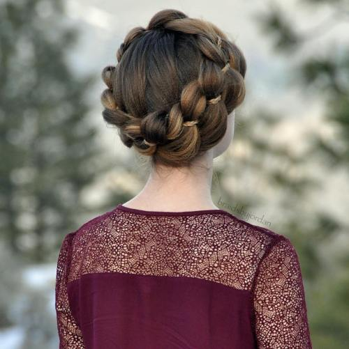FOUR STRAND CROWN BRAID UPDO FOR CRIMPED HAIR
