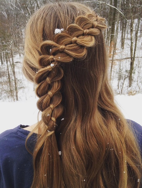 FOURSTRAND BRAID WITH A RIBBON
