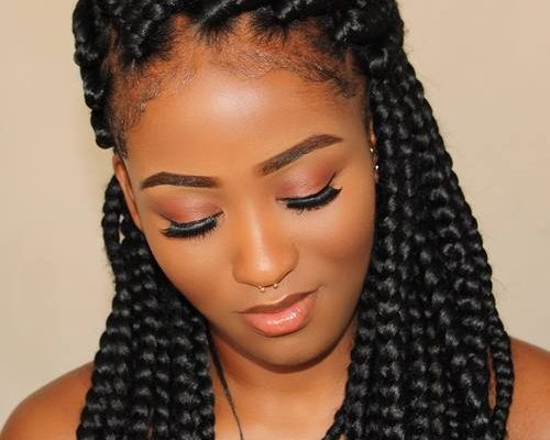 HALF UPDO WITH THICK BOX BRAIDS