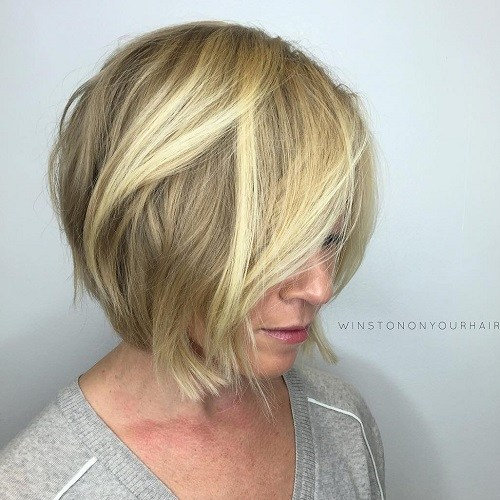 Hairstyles for Women Over 40 Crisp Blonde Cut