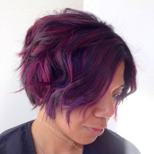 Hairstyles for Women Over 40 Magenta and Purple Wavy Bob