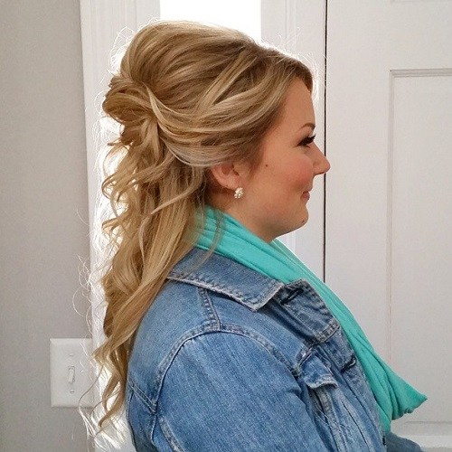Half updo with a bouffant for round faces