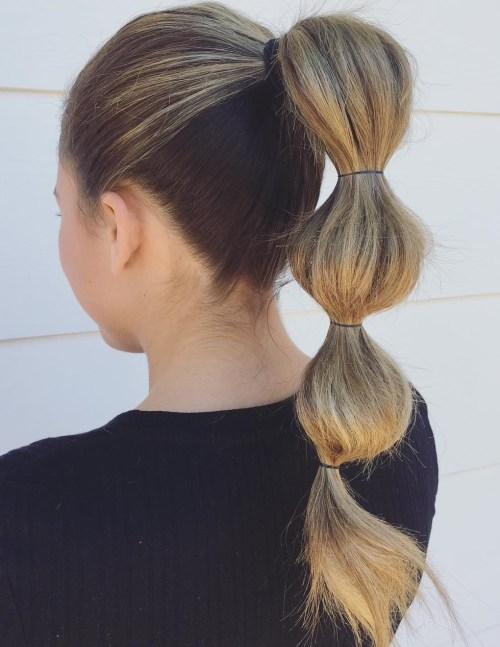 High bubble ponytail