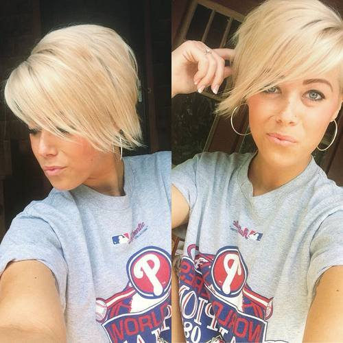 LONG BLONDE PIXIE WITH SIDESWEPT BANGS
