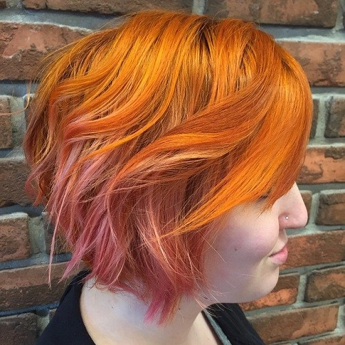 LONG COPPER PIXIE WITH BALAYAGE