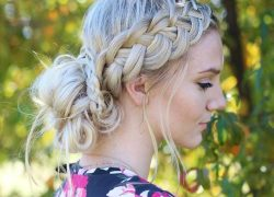LOW MESSY BUN AND FOUR STRAND SIDE BRAID