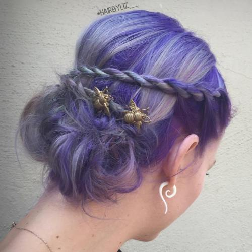PASTEL COLORED UPDO WITH ROPE TWIST