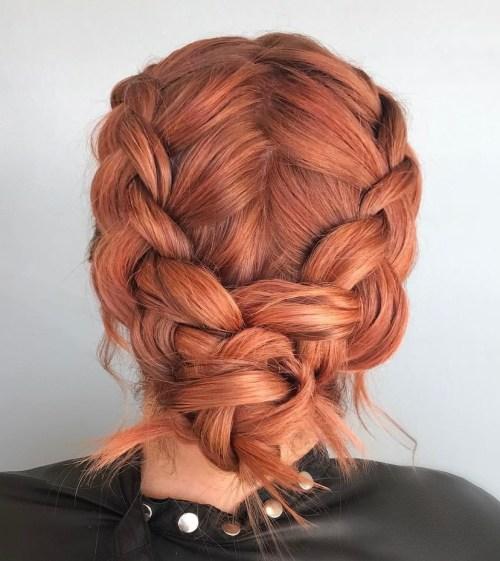Peachy braided updo