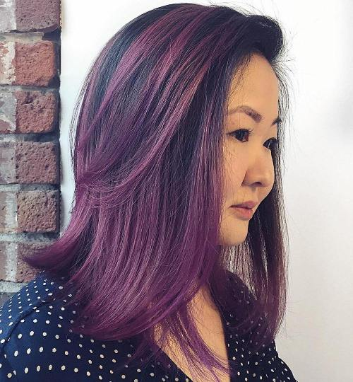 PURPLE BALAYAGE MEDIUM LENGTH HAIR
