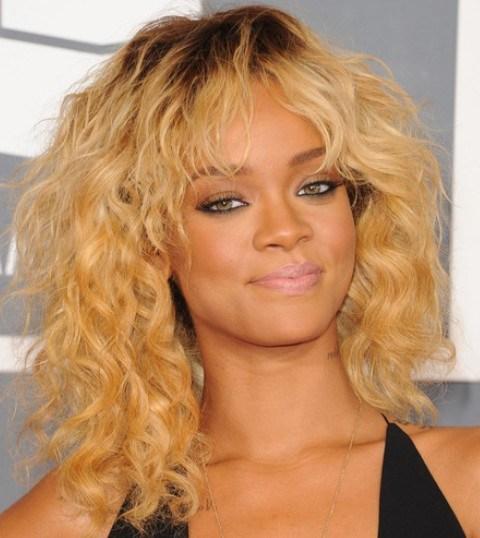 Rihanna Hairstyles Sassy Blonde Medium Curls