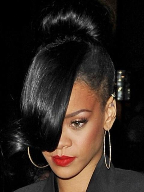 Rihanna Hairstyles Super Chic Classic Bun
