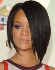 Rihanna Hairstyles Super Sleek Asymmetric Black Bob