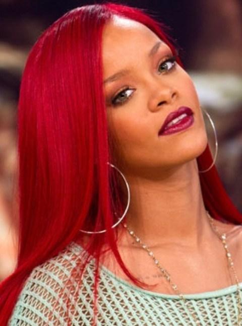 Rihanna Long Hairstyles Stylish Scarlet Side Swept Haircut