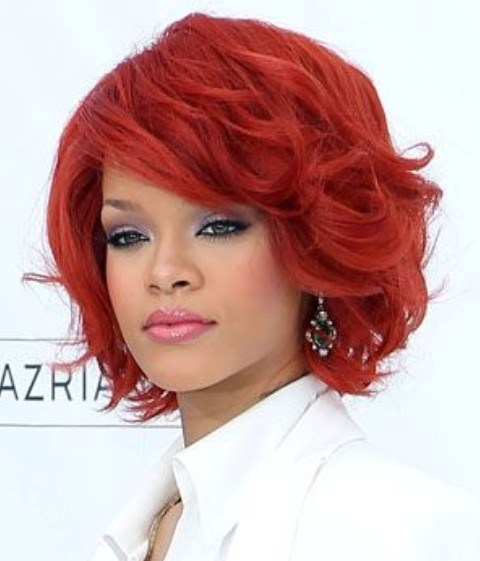 Rihanna Short Hairstyles Scarlet Wavy Haircut