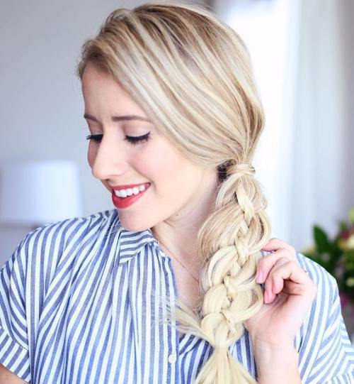 SIDE PONYTAIL WITH FOUR STRAND BRAID