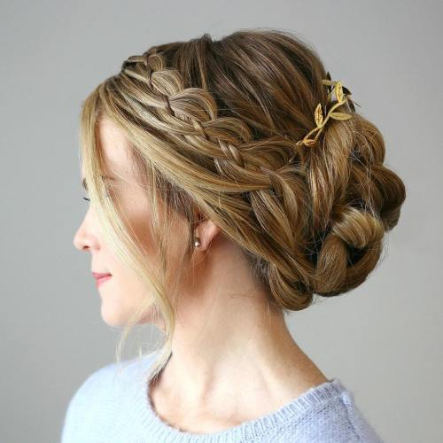 TWISTED UPDO WITH A SIDE FOUR STRAND BRAID