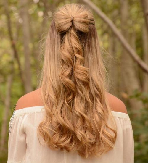 hairbow on long curls