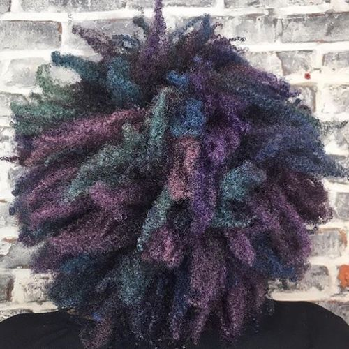 AFRICAN AMERICAN SHORT CURLY PASTEL PURPLE HAIRSTYLE
