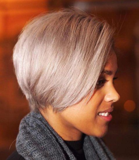 African American long blonde pixie