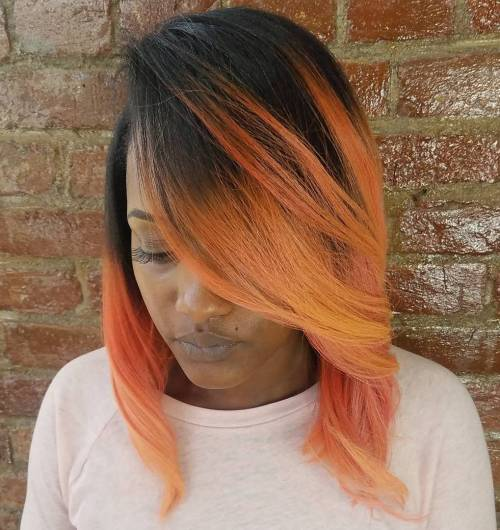 African American rose gold bob with root fade