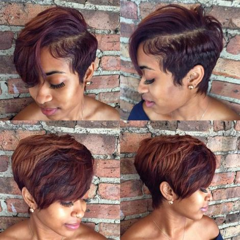 African American tapered pixie with bangs