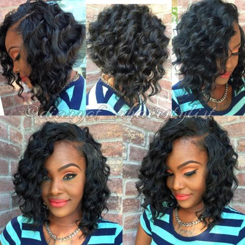 African american angled curly bob