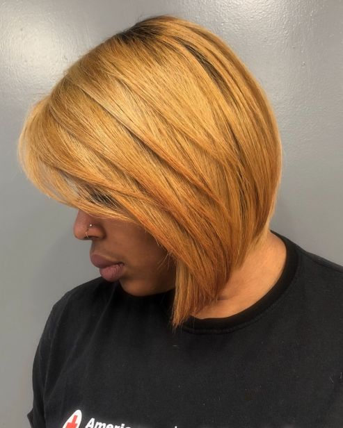 African american blonde layered bob