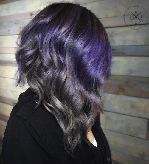 BLACK GRAY AND PURPLE WAVY LOB