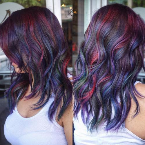 BLUE BURGUNDY AND PURPLE HIGHLIGHTS