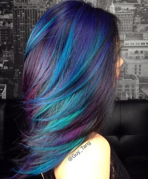 BLUE TEAL AND PURPLE HIGHLIGHTS