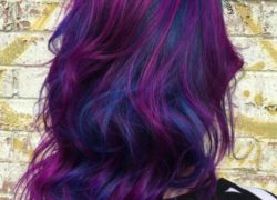 BRIGHT BLUE AND PURPLE BALAYAGE HAIR