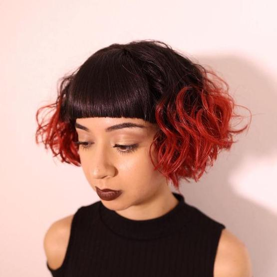 BROWN AND RED CURLY CROPPED BOB