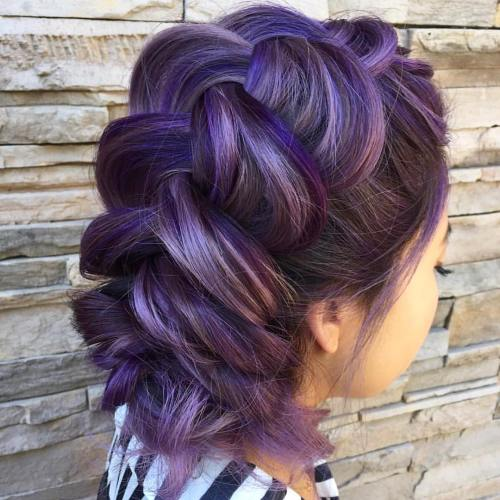 BROWN BRAIDED UPDO WITH VIOLET HIGHLIGHTS