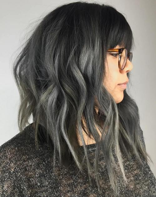 Black angled bob with gray balayage