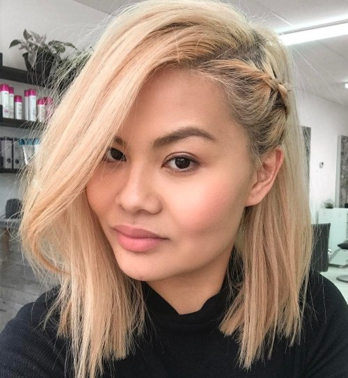 Blonde lob with side braid