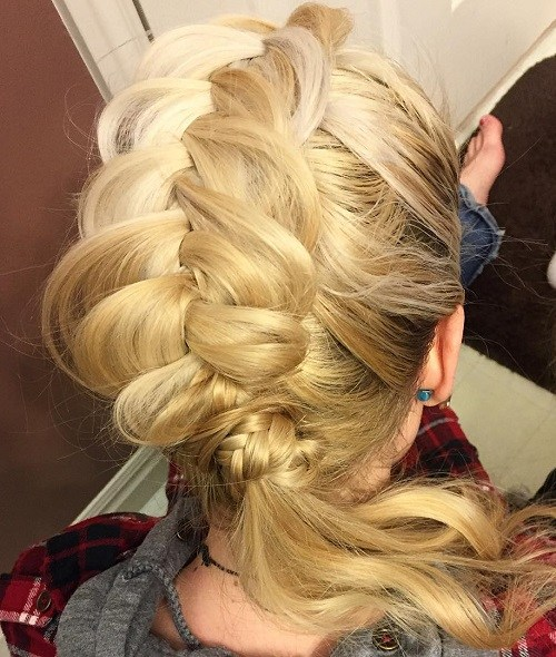 Braided mohawk with ponytail