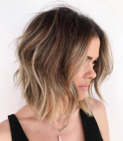 Brunette lob with bronde highlights