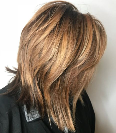 Caramel shag for medium hair