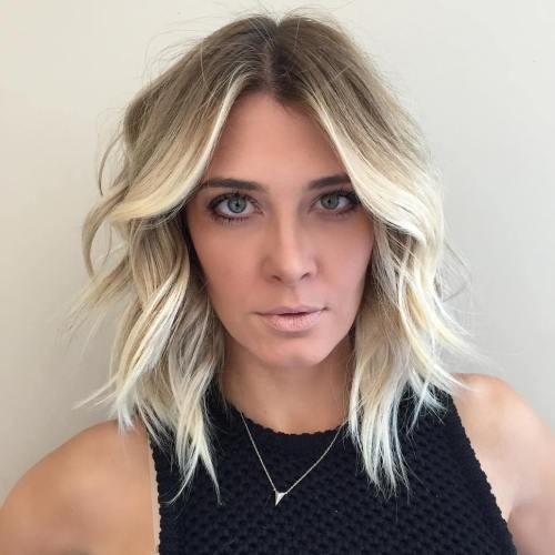 Centreparted blonde layered lob