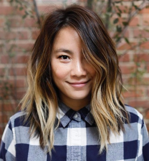Choppy blonde balayage long bob